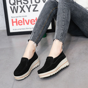 Image 3 - 2020 Spring Women Flats Shoes Platform Sneakers Slip On Flats Leather Suede Ladies Loafers Casual Shoes Women loafers shoes