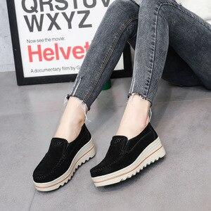 Image 3 - 2020 bahar kadın Flats ayakkabı platformu Sneakers daireler üzerinde kayma deri süet bayanlar loaferlar rahat ayakkabılar kadınlar loafer ayakkabılar