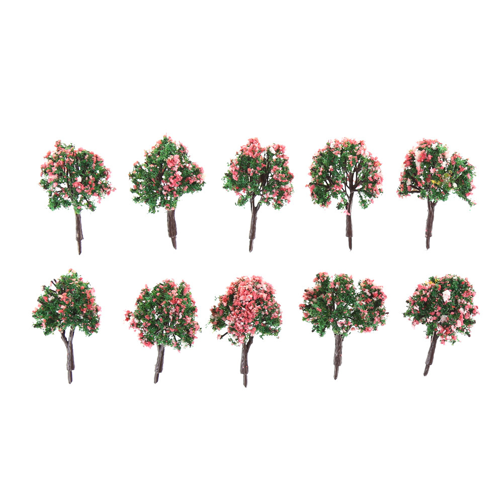 10pcs Trees Ball Shaped Flower Model Scenery Landscape 1/87 Scale Mixed colors