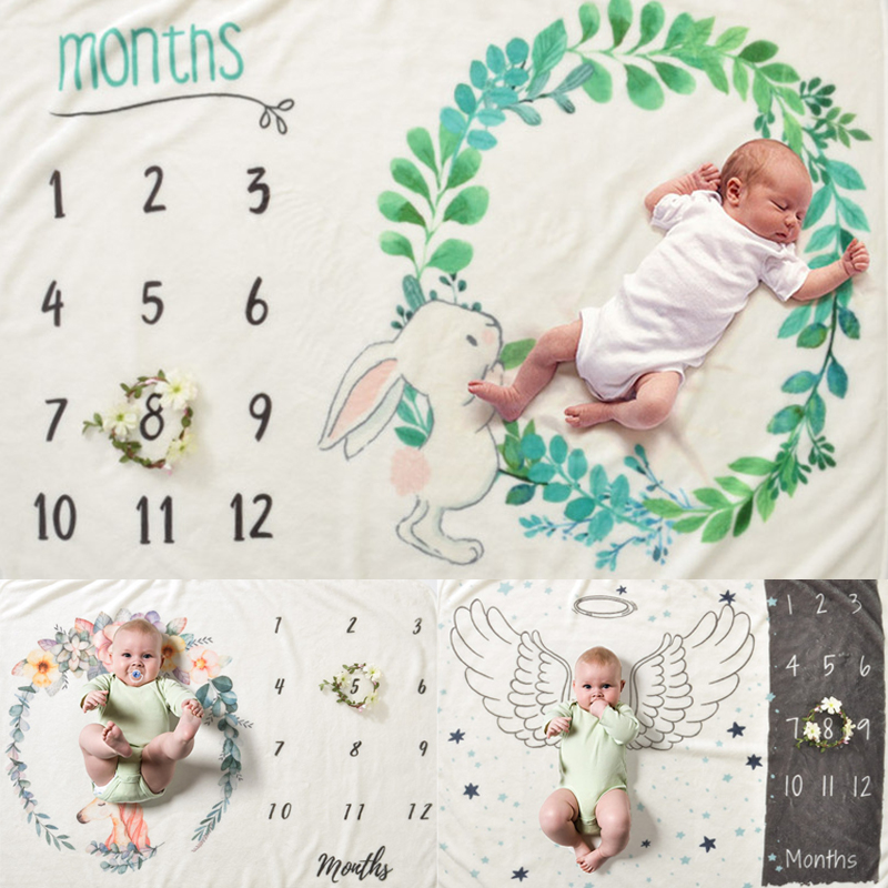 2020 Baby Milestone Blanket Newborn Photography Photo Props Flannel Monthly Background Blankets Infant Bedding Swaddle Wraps