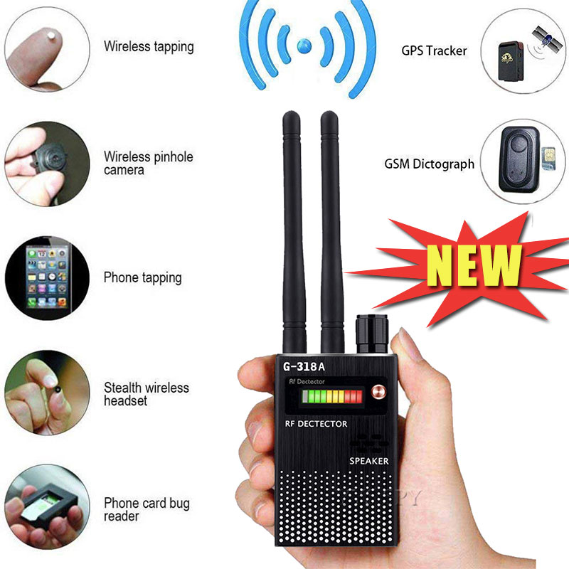 G318A Dual Antenna RF Signal Anti Spy Candid Hidden Camera Detector Eavesdropping Pinhole Audio Bug GPS GSM Wireless Device Scan