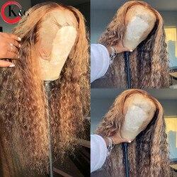 KUNGANG Highlight 13*6 Spitze Perücken Lockiges Menschliches Haar Perücken Brasilianischen Vordere Perücken für Women150 % Dichte Mit Baby haar Nicht-Remy