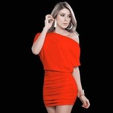 цена 2019 New Summer Dress One Shoulder Short Vetement Femme Sleeves Dress Women Solid Skew Neck Bodycon Female Mini Dress в интернет-магазинах