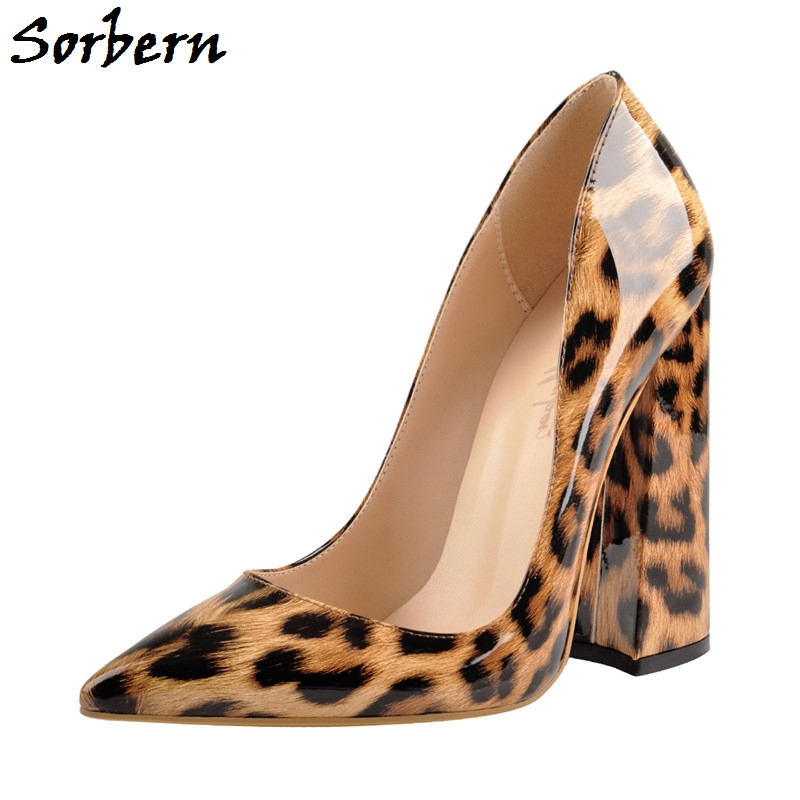 Sorbern Leopard Patent Women Shoes High Heel Chunky Heeled Pointy Toes Evening Club Footwear Womens Shoes Size 44 Custom Colors