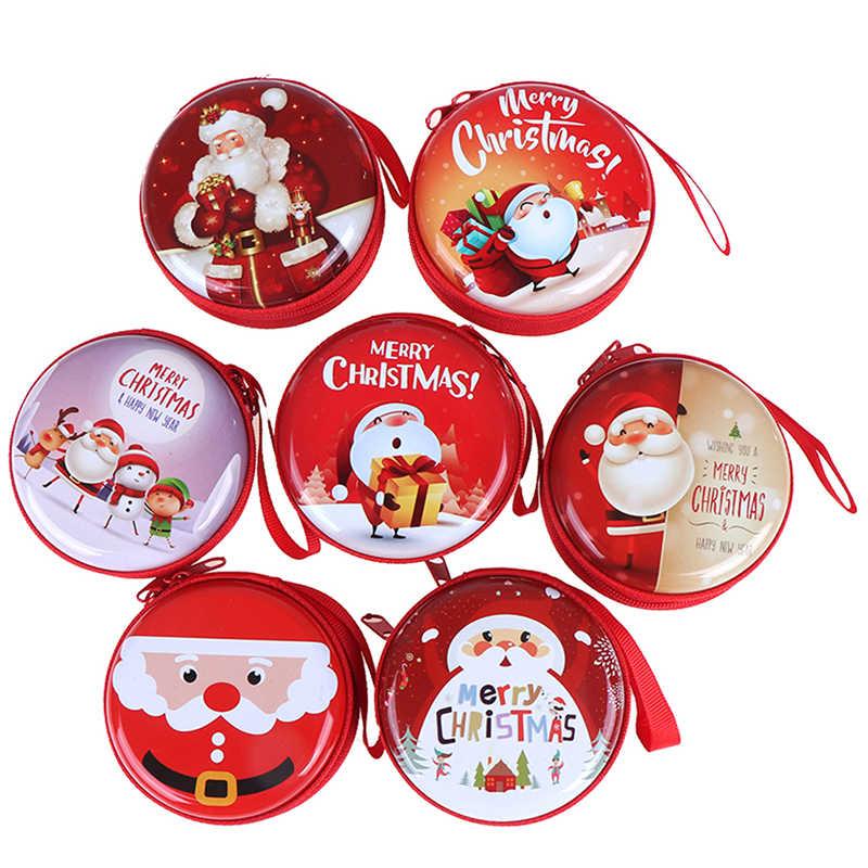 1 Cái Ngẫu Nhiên Dễ Thương Xmas Kẹo Giáng Sinh Tín Đồng Xu Ví Kẹo Bình Sắt Hộp Đồng Tiền Tai Nghe Lon Bán
