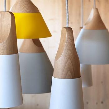 Pendant Lights Modern Wood Pendant Lamp Nordic Style For Cafe Restaurant Bedroom Kitchen Colorful Hanging Living Room Dining 5