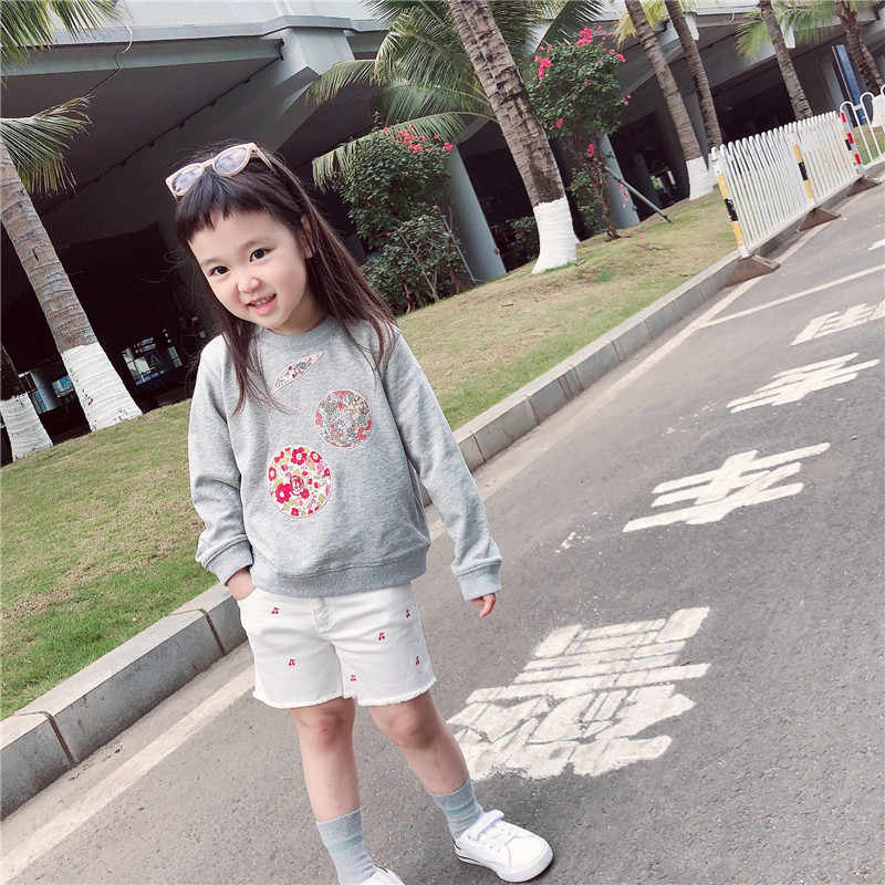 2020 New BP Style Big Cherry Pattern Grey Sweat Shirt Top For Baby Girl Kids Quality Cherry Brand Cotton Sweater Shirt