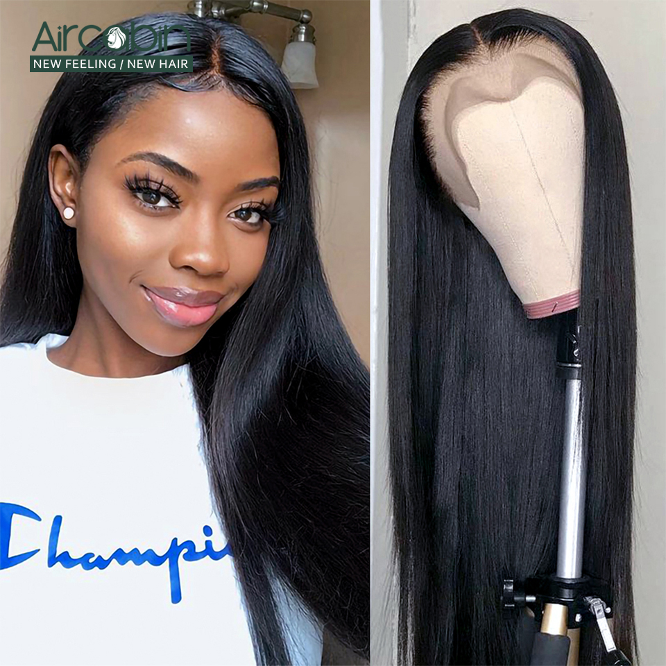 Aircabin 13x4 Lace Front Wigs Peruvian Straight Human Hair Wigs Glueless 130% Density Pre Plucked Swiss Lace Remy Hair Wig