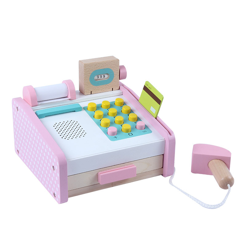 Youlebi Wooden Model DIY Children Play House Cash Register Set Educational Play House Toys
