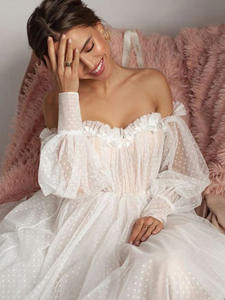 Booma Wedding-Dresses Bride-Gown Puffy-Sleeve Tulle 3d-Flower Open-Back Sexy Off-Shoulder