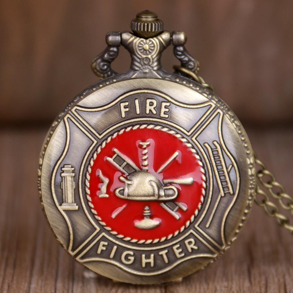 Vintage Red Fire Fighter Pocket Watch Bronze White Dial Quartz Watches For Men Women With Fob Chain Pendant CF1072