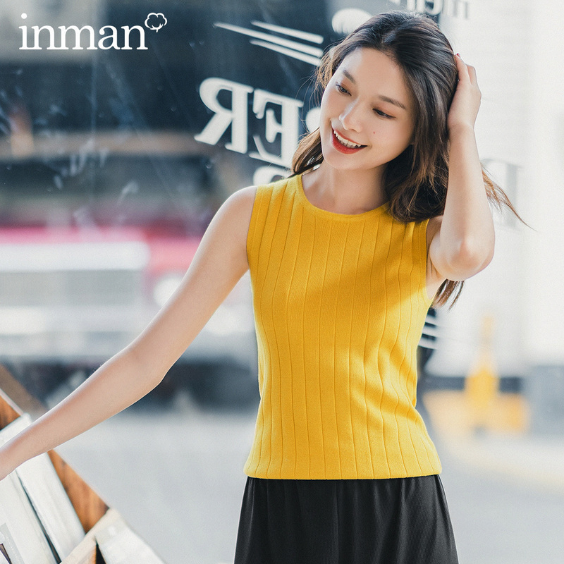 INMAN 2020 Summer New Arrival Concise Style All-match Pure Color Literary Sleeveless Knit Waistcoat
