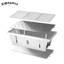 Zenph Grill Stove Picnic BBQ Portable Stainless Steel Folding Barbecue Camping Hiking Charcoal