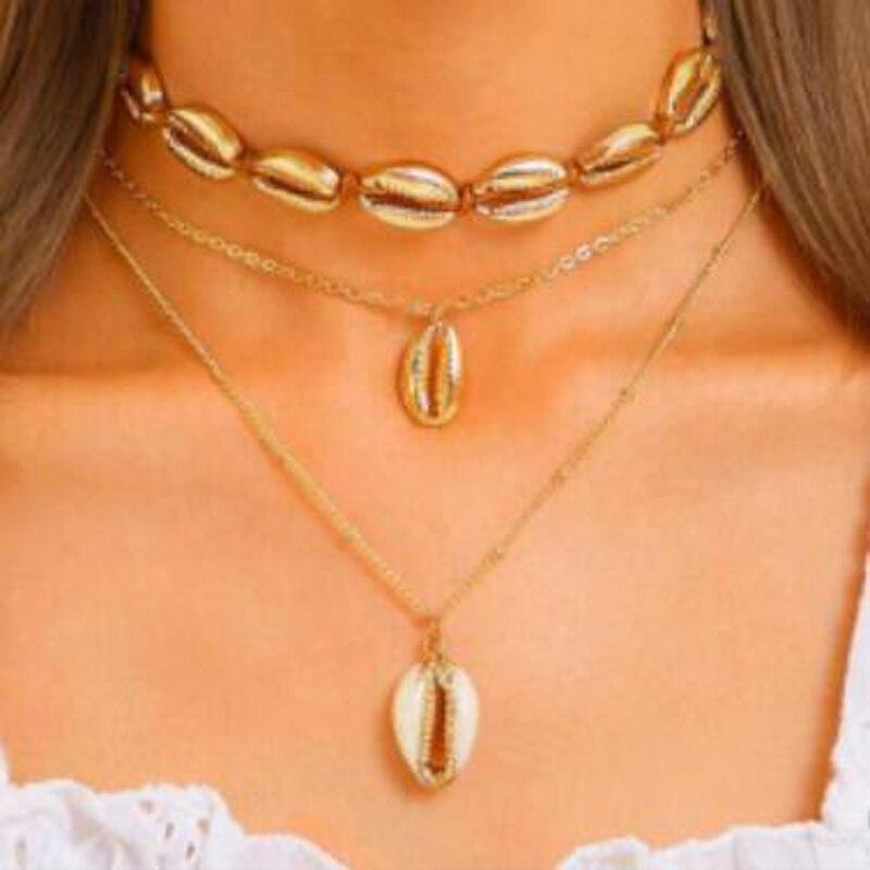 Tocona bohème été coquille pendentif collier pour femmes or chaîne Chocker réglable plage bijoux accessoires B07303