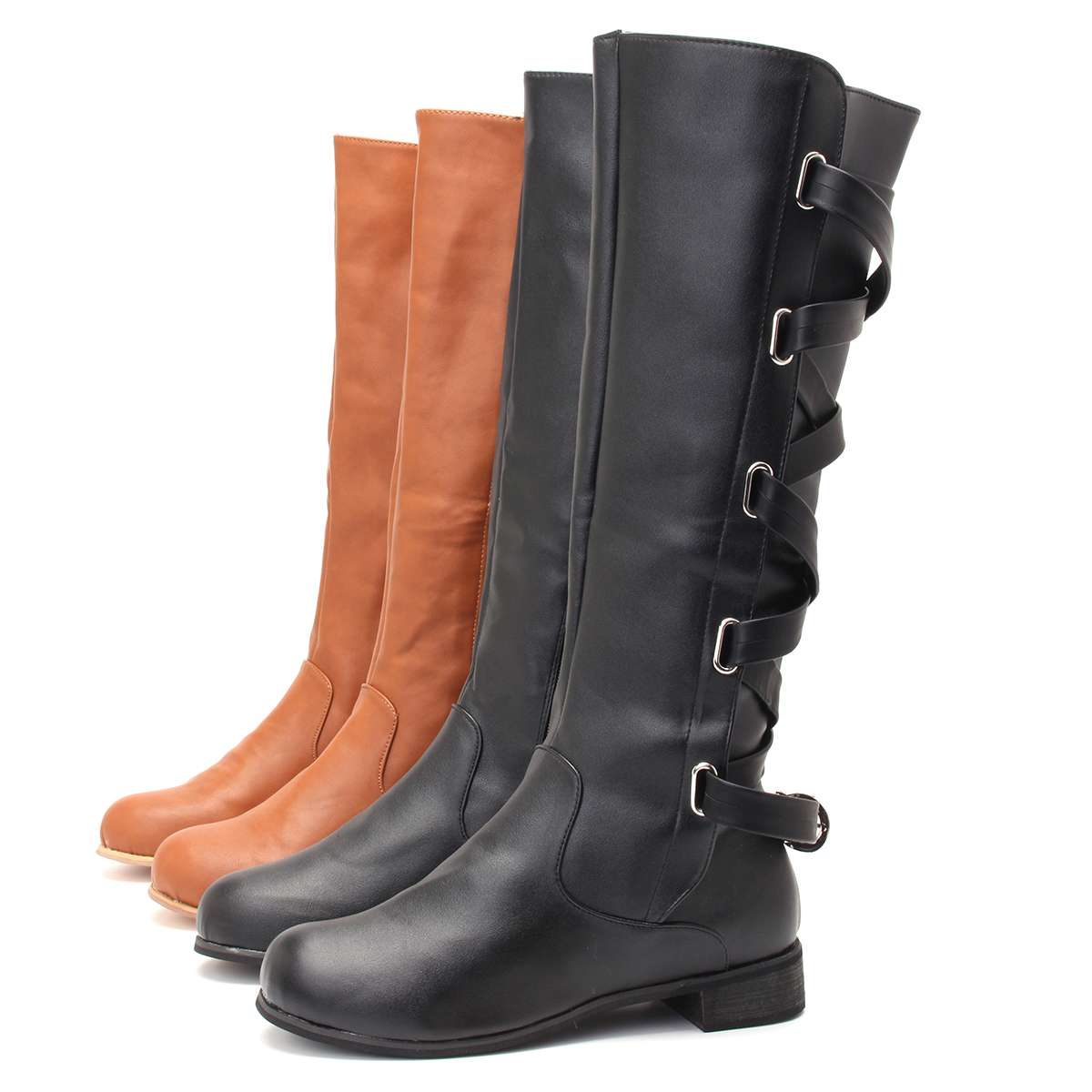 Nis Women Long Boots Fashion Buckle Riding Knee Low Heels Knee High Boots Leather Slip-On Lace Up Long Winter Boots Botas Mujer