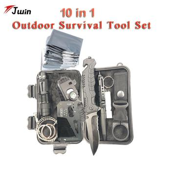 10 In 1 Survival Kit  Military Outdoor Tourism Multifunction First Aid SOS EDC Emergency Camping Tool Survival Kit Knife