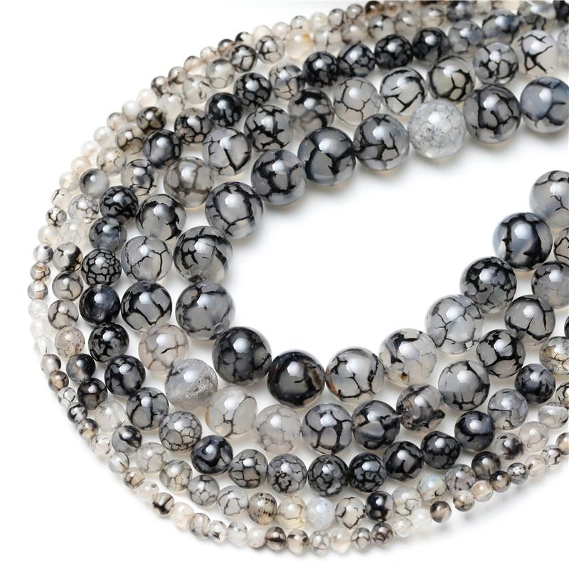 "Fashion Round 10mm Black Dragon Veins Agate Gemstone Loose Beads 15/"""