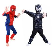 Aranha vermelha super traje homem preto halloween trajes para crianças super-herói capas carnaval traje para meninos