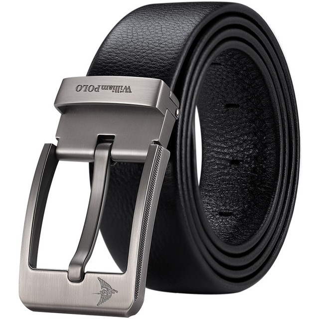 WilliamPolo Cowskin leather luxury strap male belts for men new fashion classice vintage pin buckle men belt High Quality 5