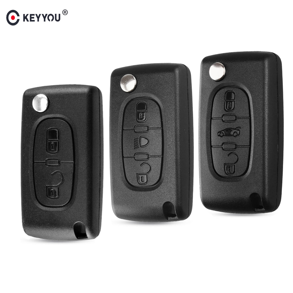 KEYYOU 3/2 botón plegable Flip remoto de la llave del coche caso para Peugeot 206 Peugeot 407, 307 sw 607 para Citroen C2 C3 C4 C5 C6 berlingo