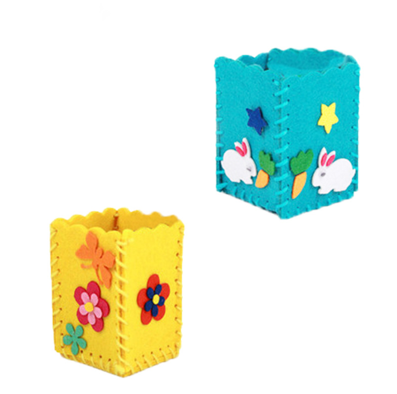 New Baby Kids Educational DIY Craft Tangram Block Kit Cute Creative Handmade Pen Container DIY Pencil Holder Kids Craft Toy Kits
