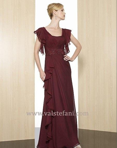 2018 New Arrival Sexy Maxi Vestido De Festa Colorful Red Long Chiffon Cap Sleeve Elegant Party Evening Mother Of The Bride Dress