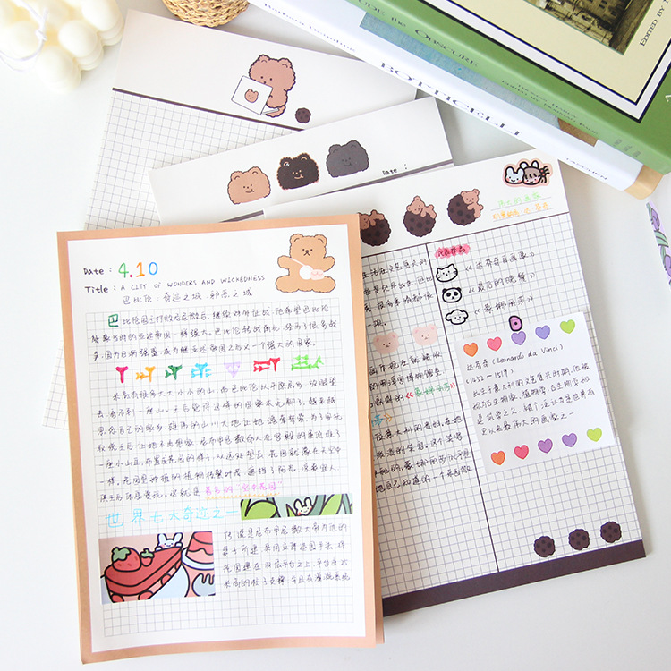 Grid Chocolate Bear Memo Pad B5 Student Diy Learning Notes Paper Cute Notebook Planner Stickers Diary Notepad Kawaii Stationery