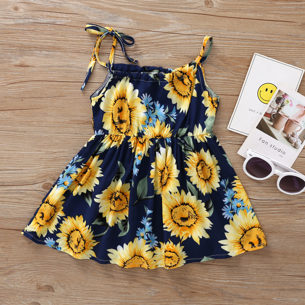 2020 Summer Popular Girl's Braces Dress Flower Pattern Casual Dress For Children Party Tourism Clothing And Unicorn T-shirt