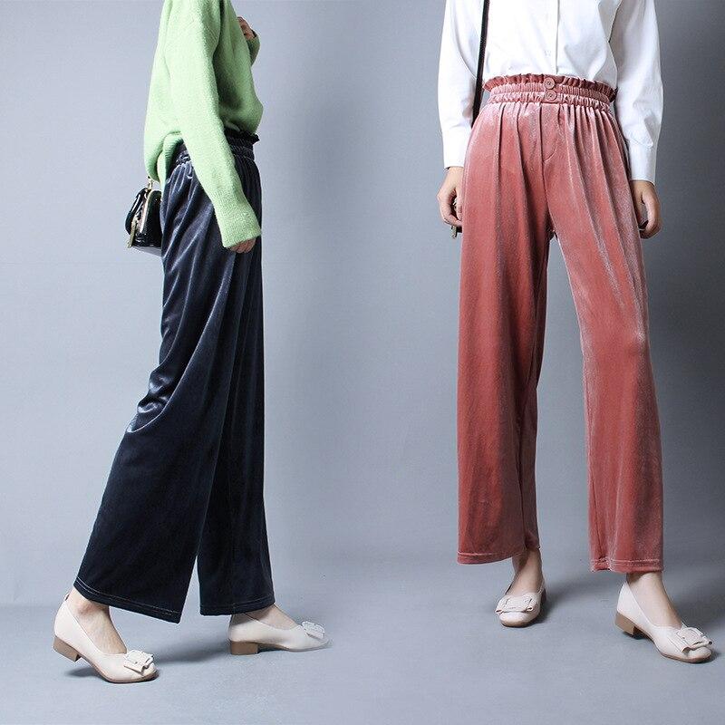 New Fashion Women   Pants   High Elastic Waist Pleuche Ankle Length   Pants   Casual   Wide     Leg     Pants   Female Solid Loose Shaking Trousers