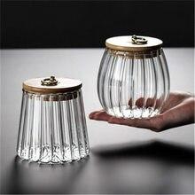 Glass storage jars household storage jars transparent creative petals Japanese tea cans Pu'er tea sealed tea cans