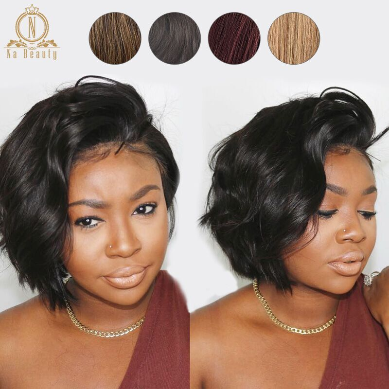 13x6 Lace Front Human Hair Short Bob Wigs Pixie Cut Ombre Color 1B 27 613 Blonde Black Straight For Women Brazilian Remy Hair image