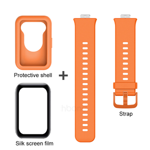 Image 5 - 3in1 full cover protect shell for huawei watch fit strap+fiberglass soft silicone back coque for hauwei watchfit shockproof case