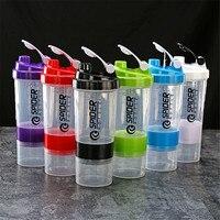 Portátil esportes shaker garrafa criativa proteína em pó garrafa de mistura preto três camadas à prova de vazamento garrafa de água fitness ginásio 500ml|Garrafas Shaker|   -