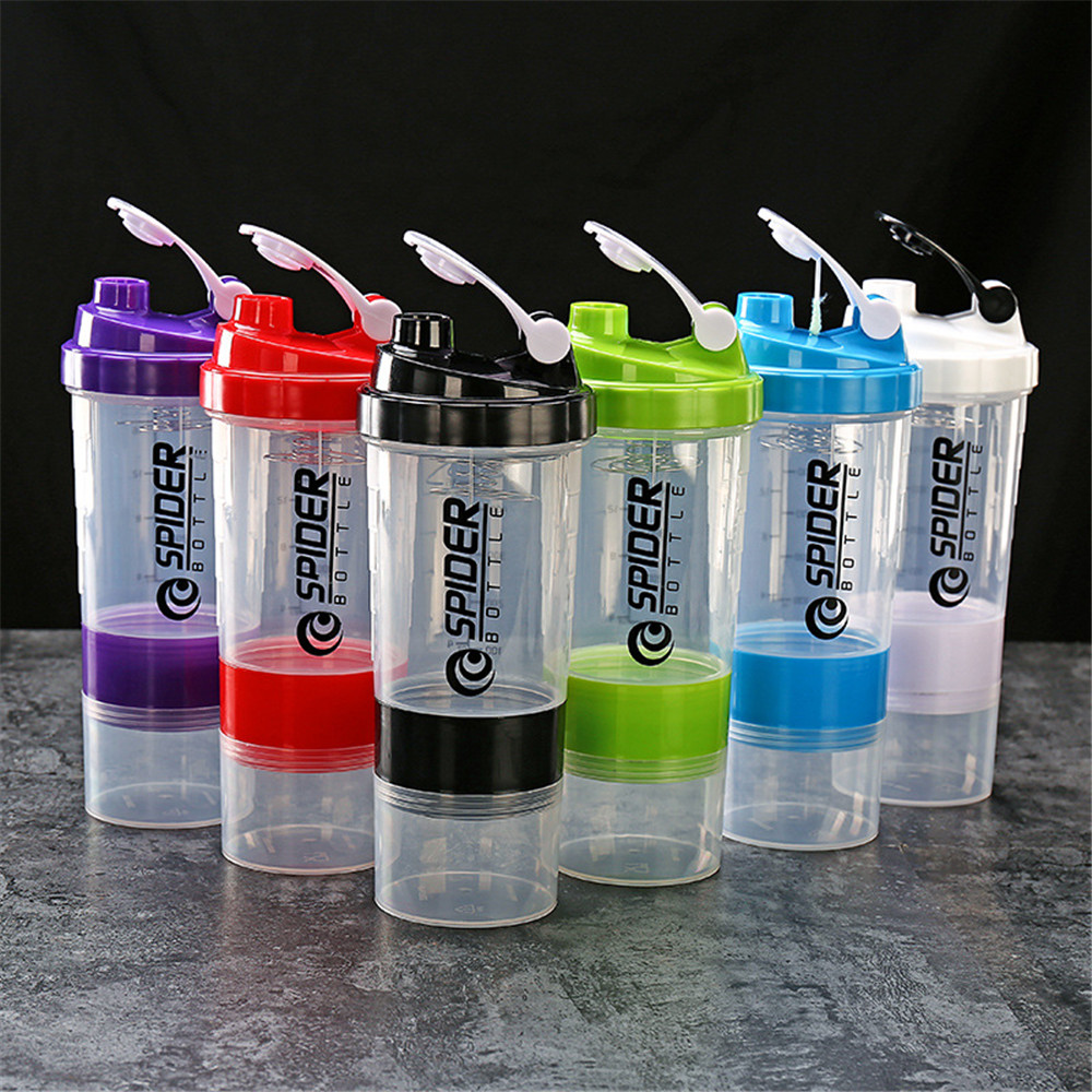 Portable Sports Shaker Bottle Creative Protein Powder Mixing Bottle Black Three-layer Leakproof Water Bottle Fitness Gym 500ml image