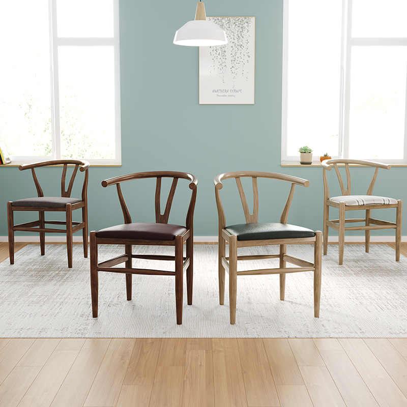 Nordic INS Wooden Dining Chair American Retro Home Furniture Coffee Restaurant Bedroom Study Leisure Simple Solid Wood Chair