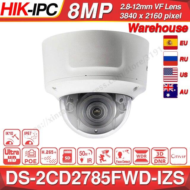 Hikvision الأصلي DS 2CD2785FWD IZS كاميرا بشكل قبة 8MP POE كاميرا تلفزيونات الدوائر المغلقة 50m IR المدى IP67 IK10 H.265 + 2.8 12 مللي متر التكبير