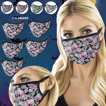 Adult Halloween Skull Print Face Mask Cover Warm Mouth Mask Masque Breathable Reuse Protective Washable Face Mask Mouth-muffle image