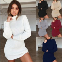 Women Long Sleeve Knitted Sweater-Dress High Collar Slim Fit Bottoming Mini Knitting Dress