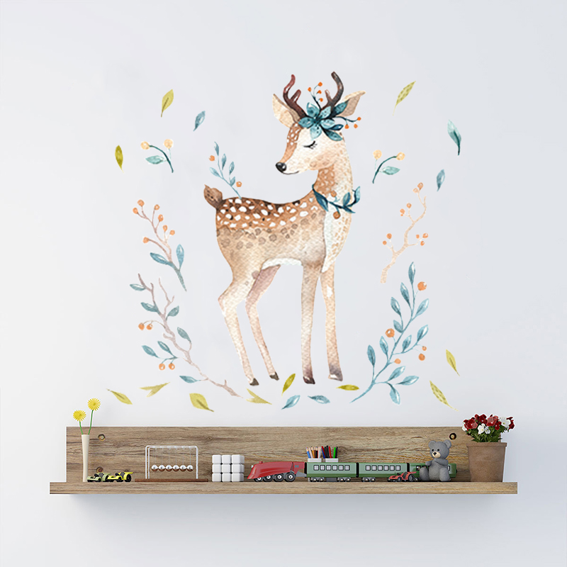 Deer Wall Stickers Forest Animals Wall Decals For Liviing Room Bedroom Baby Nursery Room Decoration Hand Drawn Watercolor Decor