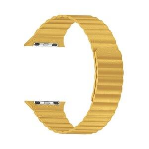 Image 3 - 애플 시계 밴드에 대 한 더블 마그네틱 걸쇠 스트랩 44mm 40mm 가죽 루프 iwatch 시리즈 4 5 3 2 42mm 38mm 팔찌 애플 시계 4 5
