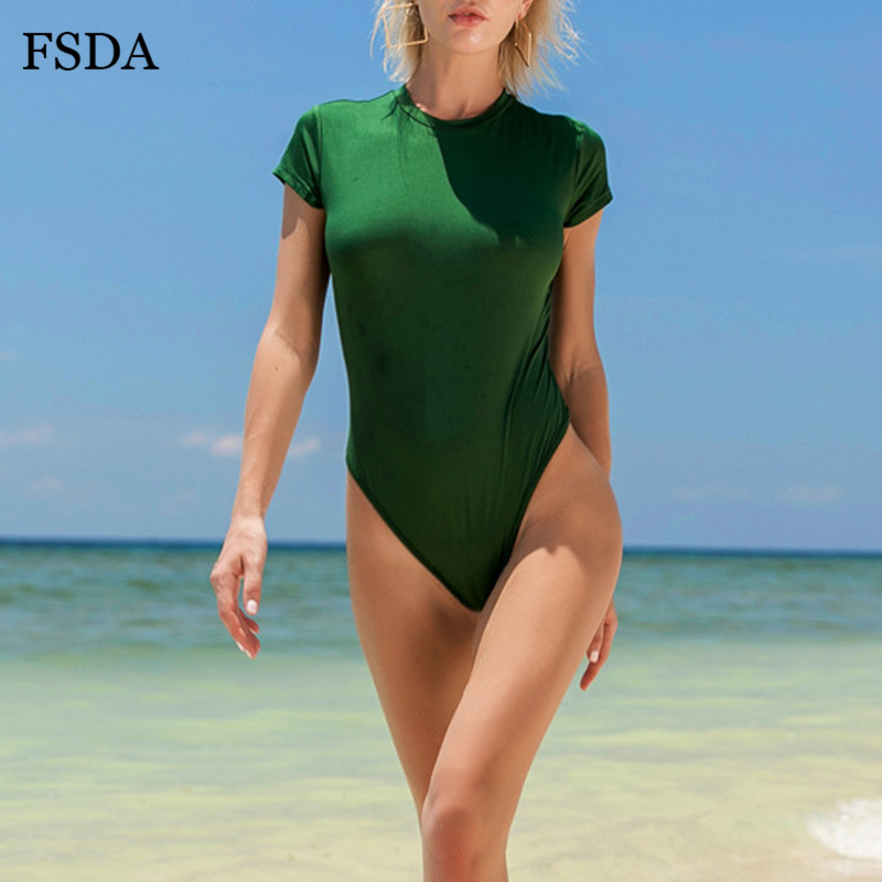 FSDA O Neck Summer Casual Bodysuit Short Sleeve Women Solid Body Top Ladies Sexy Black Streetwear Beach White Bodysuits 2020