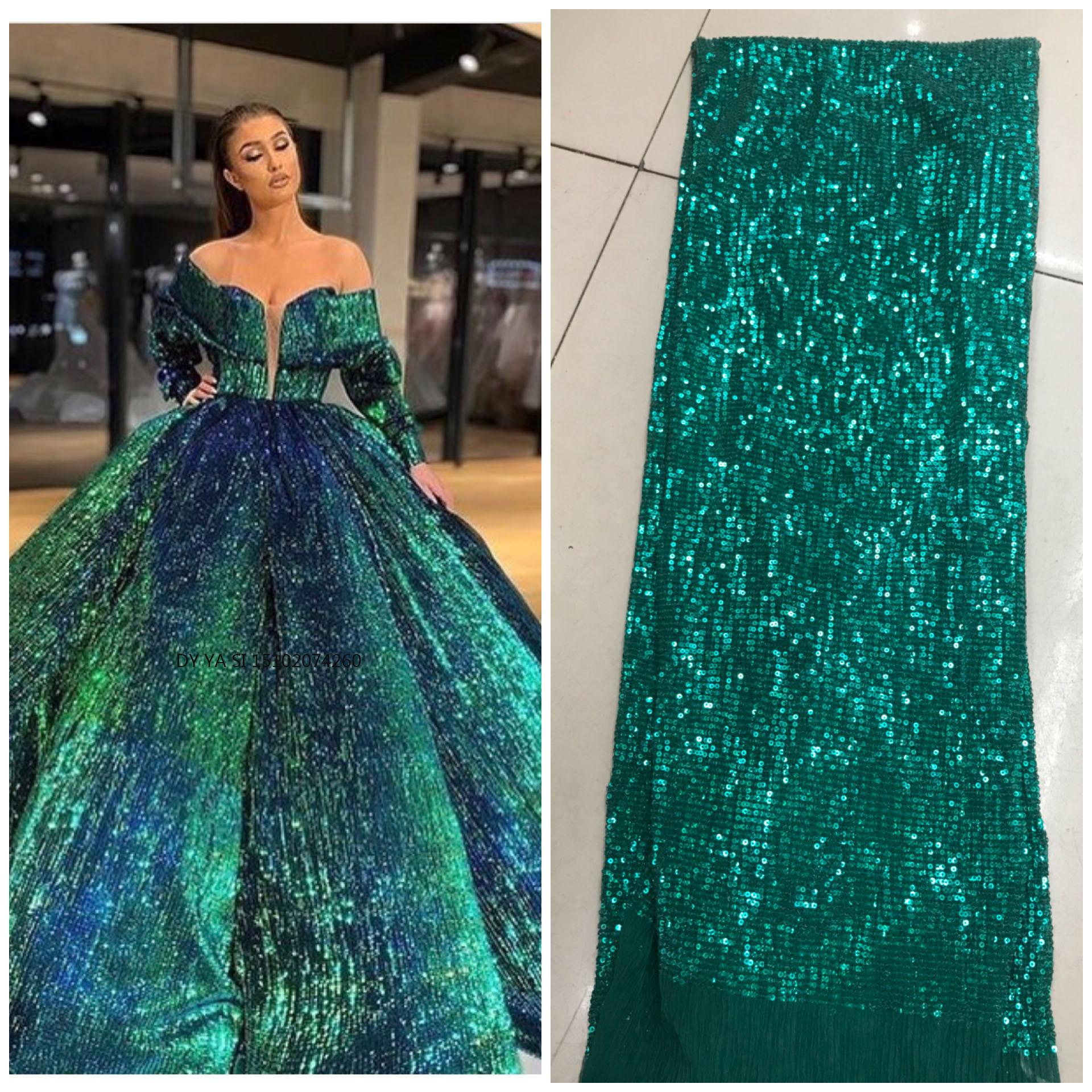 Tissu imprimé nigérian en dentelle à paillettes, mousseline plissée, 3 yards, pour femmes, 2019, DYSZP26
