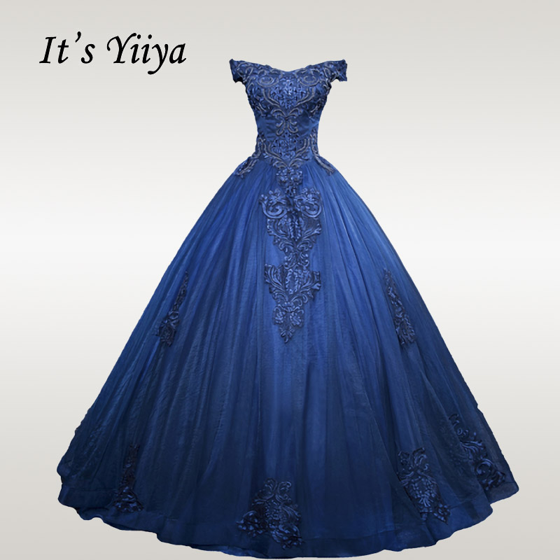It's YiiYa Wedding Dress Beading Wedding Dresses Elegant Lace Bridal Ball Gowns Plus Size Off Shoulder Robe De Mariee CH124