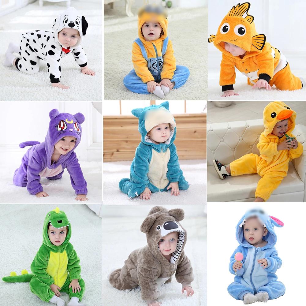 Infant Baby Rompers Clothes 0 3Y Toddler Boy Girl Cartoon Onesie Zipper Flannel Warm Newborn Baby Kawaii Clothing