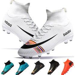 Football Shoes for Men Soccer Kids Indoor Sneakers Turf Spike Superfly Futsal Original Comfortable Waterproof Boots WHITE BLACK