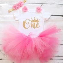 1st Наряд для дня рождения для маленьких девочек одежда для детей Пышная юбка Детские балетные юбки с повязкой на голову, хлопковый детский комбинезон, Одежда для новорожденных, костюмы для вечерние