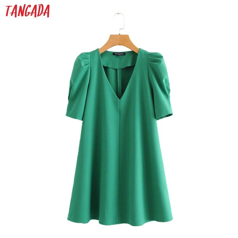 Tangada Fashion Women Solid Green Summer Dress Short Sleeve V Neck Ladies Midi Dress Vestidos 2L19