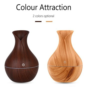 Car Wood Grain Humidifier Aromatherapy Machine Household Vase Air Purification Round Humidifier Brown