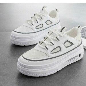 Image 5 - SWYIVY الأبيض أحذية امرأة غير رسمية بولي PU منصة أحذية رياضية النساء جديد 2020 موضة الربيع أحذية رياضية للنساء الخياطة أحذية نسائية خفيفة