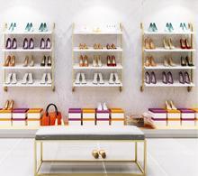 Shoe store, shoe shelf, wall hanging display shelf, gold multi-layer shoe bag shelf, clothing store, background wall display she босоножки hey beautiful shoe store 603 2015